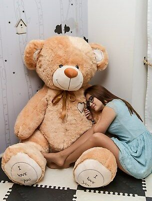 190 cm ! GIANT LARGE BIG HUGE TEDDY BEAR +EMBROIDERY  BEIGE great gift birthday