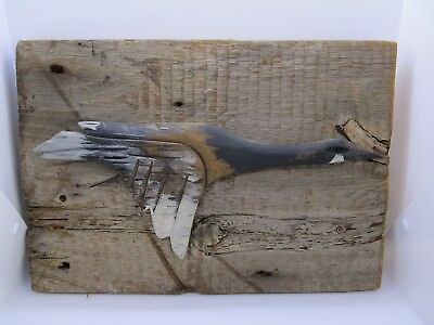 Folk Art Flying Canadian Goose Wall Hanging Hand Carved Wood Signed