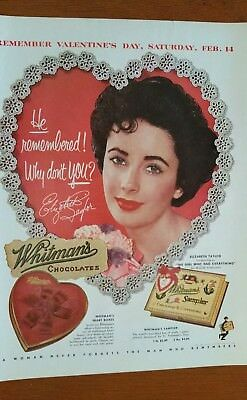 1953 WHITMAN'S CHOCOLATES Valentine's Day Print Ad with Elizabeth Taylor
