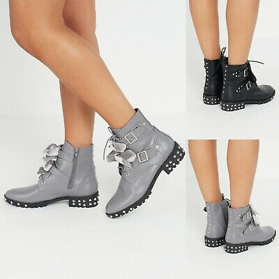 Women Ankle Boots Lace Up Studded Buckle Biker Goth Flat Shoes Size