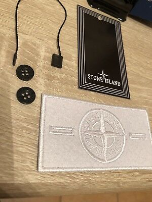 White Ghost Stone Island Badge Patch Button and Tag Replacement