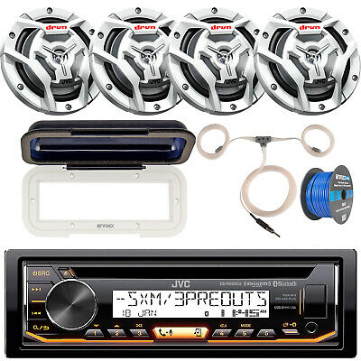 JVC Marine Bluetooth CD Receiver w/ Cover & Antenna, 4x White Speakers + Wire