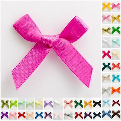 Small 3cm Wide Pre-Tied Bows (7mm Satin Ribbon) Crafts Wedding
