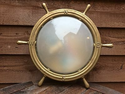 Vintage Brass Lamp in the form of a Ship's Wheel