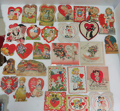 Vintage Lot (29) 1930s-40s-50s Valentines Day Cards all Signed