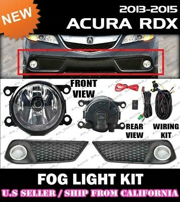 2013 2014 2015 ACURA RDX Fog Light Driving Lamp Kit w/ switch wiring (CLEAR)