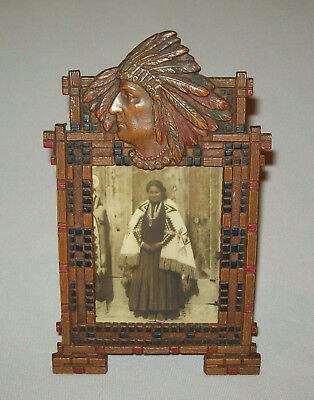 Antique Vtg 1920s Cast Iron Indian Head Frame Easel Back W/Native American Photo