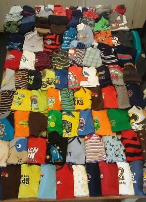 Huge 97 piece lot baby boy clothes size 0-3month, 3 month outfits, oneies etc...