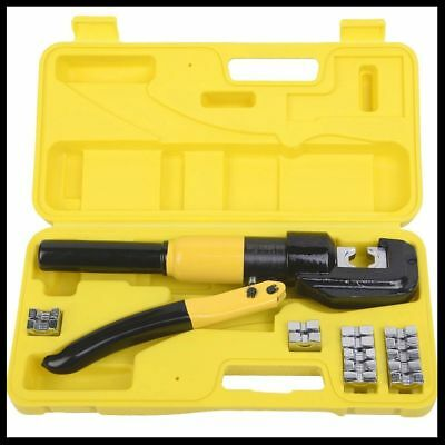 Hydraulic Wire Terminal Crimper Battery Cable Lug 8 Ton Crimping Tool w/Dies