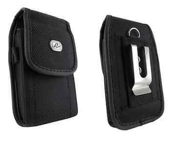 Black Canvas Belt Case Holster Pouch with Clip/Loop for Virgin Mobile ANS UL40