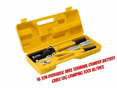 Hydraulic Wire Terminal Crimper Battery Cable Lug Crimping 16 Ton Tool w/Dies