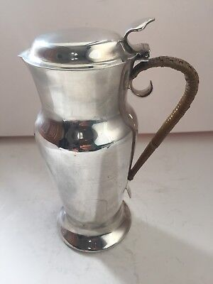 Silver Plated Antique Hot Water Jug Pitcher With Wicker Handle