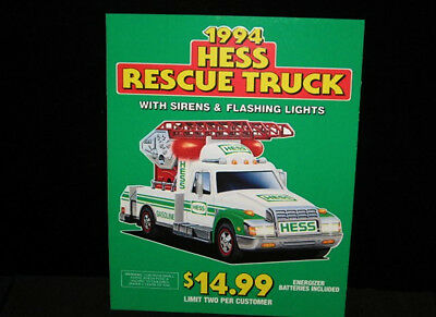 Vintage 1994 Hess Gasoline  Rescue Truck  Store window display sign poster