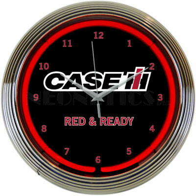 CASE IH Red And Ready Neon Clock 15 Inch International Harvester Office Home