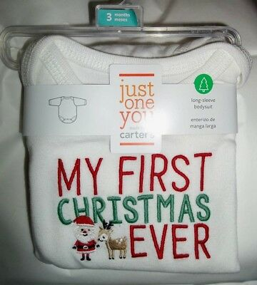 nwt-Carter's Girl or Boy-3 Mo-Baby-Bodysuit-Top-MY FIRST CHRISTMAS EVER