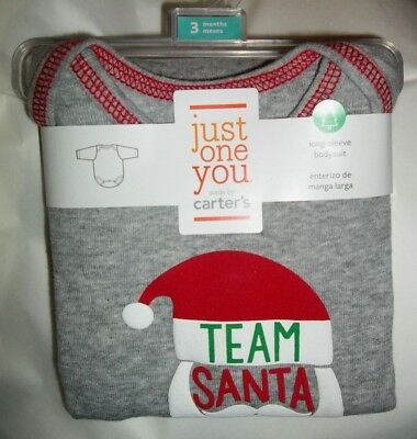 nwt-Carter's Girl or Boy-3 Mo-Baby-Cotton Bodysuit-Top-TEAM SANTA