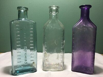 3 Antique Medicine Bottles - Clear, Purple/Mauve and Blue Table-Spoons