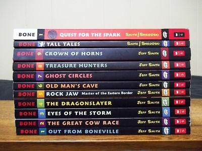 Lot of 11 BONE by Jeff Smith - Graphic Novels 1 - 9 Complete, Tall Tales, Quest