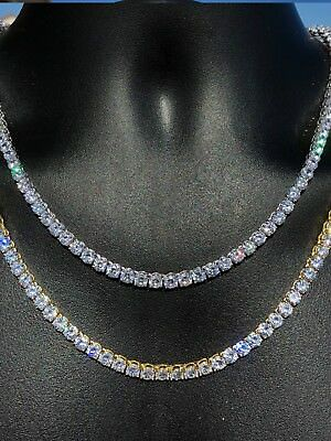 5mm Mens Tennis Chain SOLID 925 Sterling Silver Single Row ITALY ICY Lab Diamond