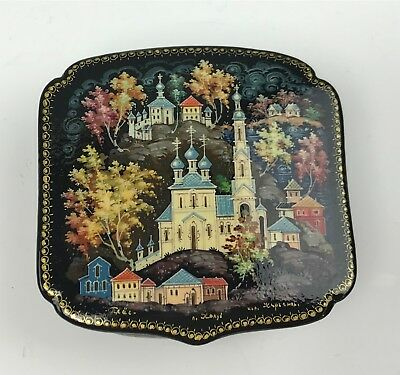 Signed Russian Hand Painted Lacquer Box w/ Village Landscape Scene