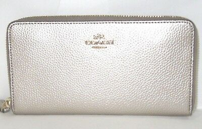 Coach Metallic Platinum Leather Accordion Zip Around Wallet F20145 New NWT $250