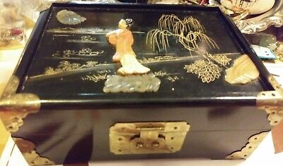 Antq.Chinese Lacquer Wood inlay Shoushan stone & jade w/old lock - Jewelry Box