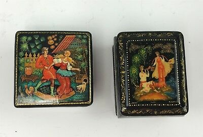2 Miniature Russian Hand Painted, Signed & Titled Palekh Lacquer Boxes