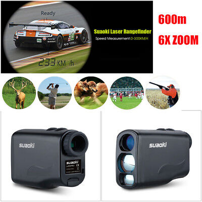 6X zoom 600m Laser Range Finder PRO Golf Hunting Sports Speed Distance Measurer