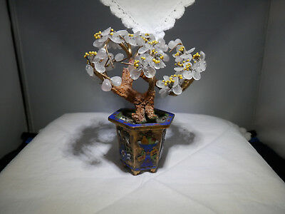Chinese jardiniere tree rose quartz ? blossoms for scholar's table