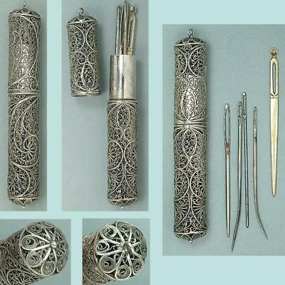 Antique English Sterling Silver Filigree Bodkin / Needle Case * Circa 1790-1800