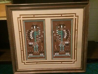 """Vintage Native American Navajo Sand painting """"Hunch Back Yei"""" by Rosabelle Ben"""