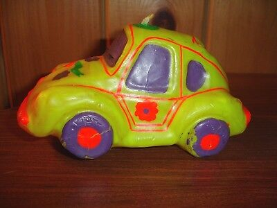 Groovy VW Bug Vintage Candle Yellow Volkswagen Car Hippie 70's Decoration Beetle