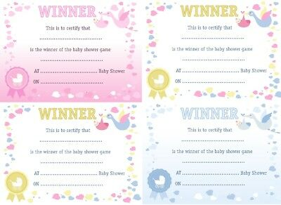 6 x WINNER CERTIFICATES Baby Shower Party Games Prize Pink Blue Unisex