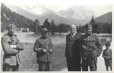Swiss soldiers pipe cigarette smoker officer uniforms snapshot photo postcard