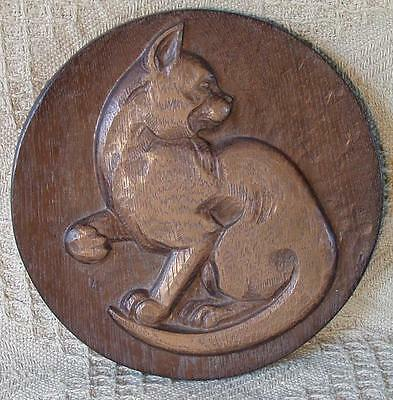 Wooden Carved Cat  Monogrammed  N.G Wall Plaque