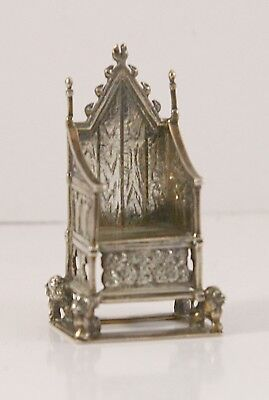 Antique STERLING SILVER Miniature Coronation Throne EDWARD VII 1902 m. CS & FS