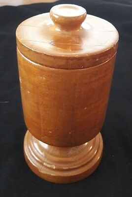 Antique Primitive Turned Wood Treen Ware Covered Box Lidded Jar Sewing / Spice