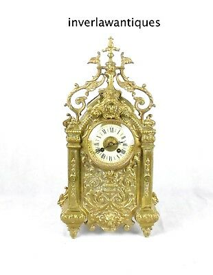 French 19th C Brass Cathedral Clock 48cm
