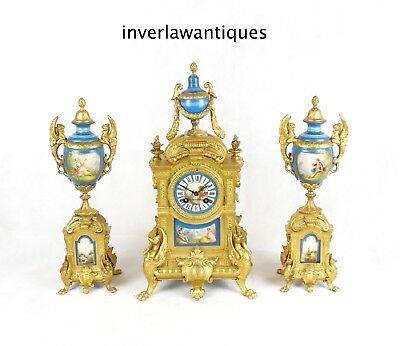 French 19th C Gilt Metal Mantel Clock Garniture Sevres Style Panels