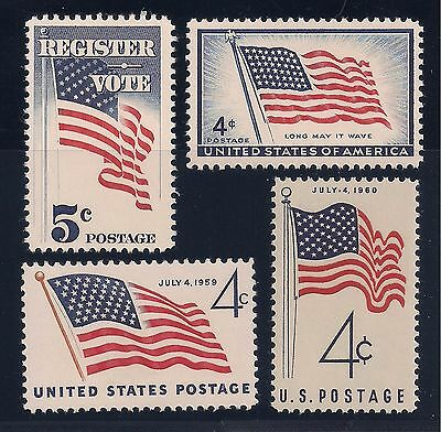 4 Vintage United States Flag Stamps 48-49-50-Star Versions - Mint Condition