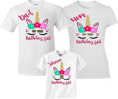 Birthday Unicorn Girl Family Funny Cute Matching T Shirts
