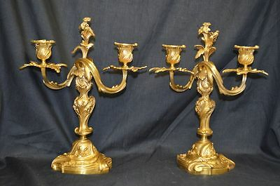 Antique Pair of Gilt Bronze Candelabra - French Louis Phillipe