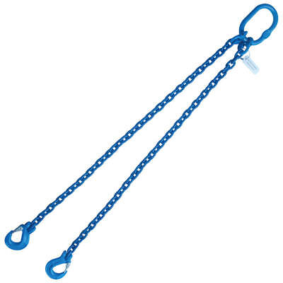 """1/2"""" x 5' G100 Chain Lifting Sling with Sling Hook Double Leg"""