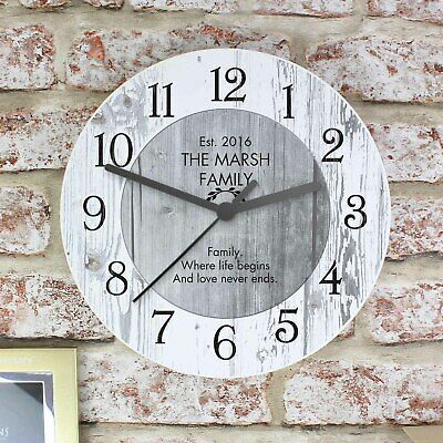 Personalised Shabby Chic Large Wooden Kitchen Wall Clock - New Home Wedding Gift
