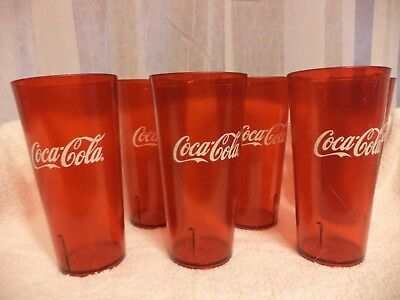 6    24 oz. RED TEXTURED PLASTIC TUMBLERS w. COCA COLA LOGO
