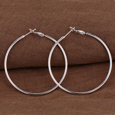 Womens 925 Silver 50mm Extra Large Round Thin Hoop Dangle Earrings UK