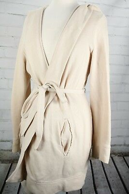 Gap Maternity Wrap Robe Hooded Cardigan Size Large Cream Lightweight Sweatshirt