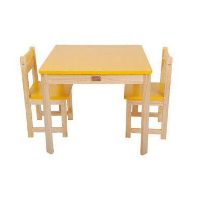 TikkTokk Wooden Children's Kids Toddler Table & 2 Chairs Set Square YELLOW