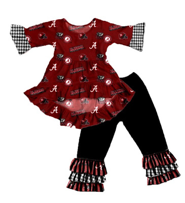 Girls Alabama Crimson Tide Ruffled Outfit Game Day Houndstooth Red White Black