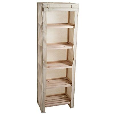 Lavish Home Five Tier Wood Storage Shelving Rack with Removable Cover (Z3R)